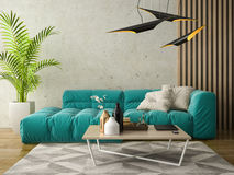 Interior modern design room 3D illustration Royalty Free Stock Images