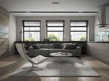 Interior of modern design room 3D rendering Stock Image