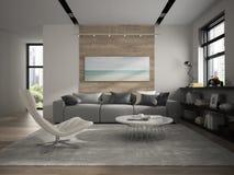 Interior of modern design room 3D rendering Stock Photography