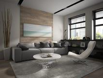 Interior of modern design room 3D rendering Stock Photos