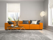 Interior of modern design room 3D rendering Stock Photos