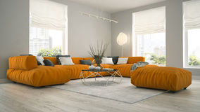 Interior of modern design room 3D rendering Royalty Free Stock Photos