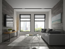 Interior of modern design room 3D rendering.  Royalty Free Stock Photography