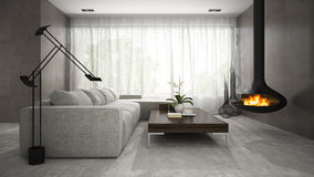 Interior of modern design room with fireplace 3D rendering Stock Photo