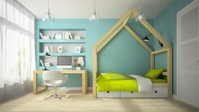 Interior of modern design room with original bed 3D rendering 2 Stock Image