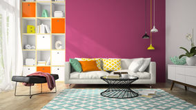 Interior of modern design room with purple wall 3D rendering 2 Stock Photography