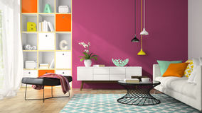 Interior of modern design room with purple wall 3D rendering Royalty Free Stock Images