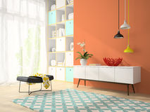 Interior of modern design room with red vase 3D rendering 2 Stock Photo