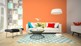Interior of modern design room with red vase 3D rendering Stock Images