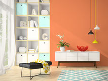 Interior of modern design room with red vase 3D rendering 3 Stock Photo