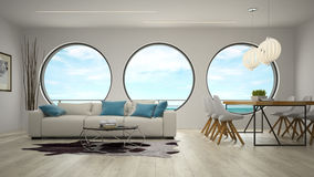 Interior of modern design room with sea view 3D rendering Royalty Free Stock Photography