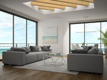 Interior of modern design room with sea view 3D rendering Royalty Free Stock Image
