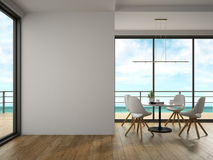 Interior of modern design room with sea view 3D rendering Royalty Free Stock Photo