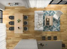 Interior modern design room top view 3D illustration Royalty Free Stock Photos