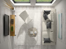 Interior of modern design room top view 3D rendering Stock Photography