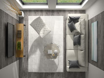 Interior of modern design room top view 3D rendering Royalty Free Stock Photo