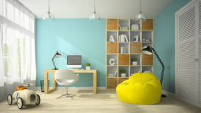 Interior of modern design room with toy car 3D rendering Stock Photo