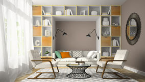Interior of modern design room with two white armchair 3D render Stock Photography