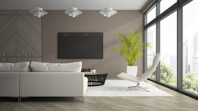 Interior  of modern  design room  with white armchair 3D renderin Stock Image