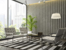 Interior of modern  design room with white armchairs 3D renderin Stock Photo