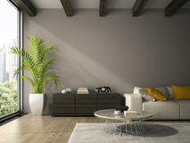 Interior of modern design room with white couch 3D rendering Royalty Free Stock Photography