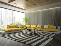 Interior of modern  design room with yellow sofa 3D rendering 2 Stock Photo