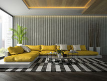 Interior of modern  design room with yellow sofa 3D rendering Stock Photos