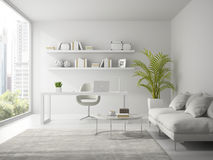 Interior of modern design white office 3D rendering Royalty Free Stock Photos