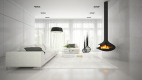 Interior of modern design white room with fireplace 3D rendering Stock Photos