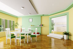 Dining room 3d render. Interior of modern dining room 3d render Stock Photo