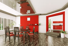 Dining room 3d render Royalty Free Stock Image