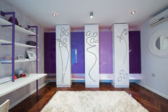 Interior of a modern dressing room with modern closet Royalty Free Stock Photography
