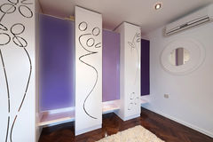 Interior of a modern dressing room with modern closet Stock Image