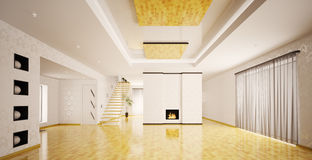 Interior of modern empty apartment panorama Stock Image