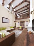The interior is modern English style with a fireplace. High ceilings with wooden beams. 3D rendering stock illustration
