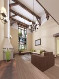 The interior is modern English style with a fireplace. High ceilings with wooden beams. 3D rendering vector illustration