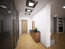 Interior of modern entrance hall 3d Royalty Free Stock Image