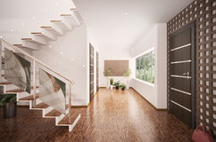 Interior of modern entrance hall 3d render Royalty Free Stock Photos