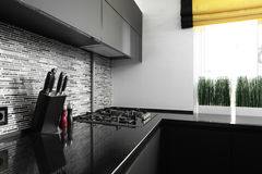 Interior of modern european kitchen Stock Photos