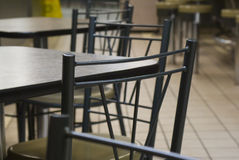 Interior of a modern fast food. Modern tables and chairs in a fast food restaurant Stock Photo