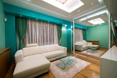 Interior of a modern green living room with luxury ceiling light. S stock image