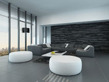 Interior of a modern grey and white living room Stock Photo