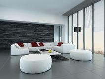 Interior of a modern grey and white living room Stock Images