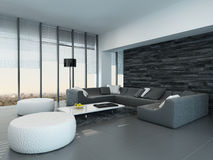 Interior of a modern grey and white living room Royalty Free Stock Images