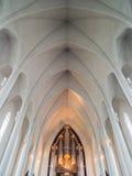 Interior of modern Hallgrimskirkja church, Reykjavik, Iceland Royalty Free Stock Photos