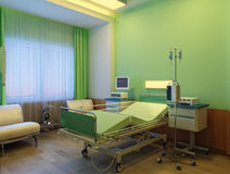 Interior of modern hospital at night Royalty Free Stock Image