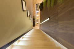 Interior of a modern hotel corridor with stairs Royalty Free Stock Photography