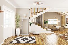 Interior of modern house 3d rendering Stock Photography