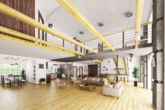 Interior of modern house 3d rendering Royalty Free Stock Photos