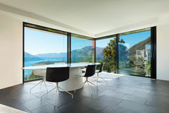 Interior, modern house, dining room Royalty Free Stock Image